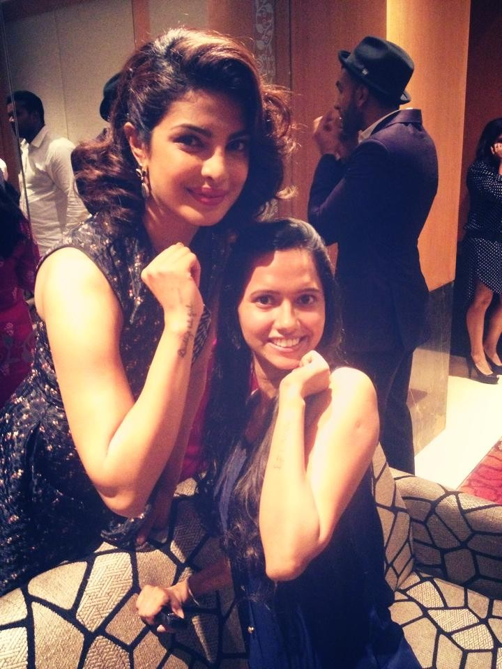 Priyanka Chopra with Mirchi RJ Kanwar and Yes their Tatoo'sss....