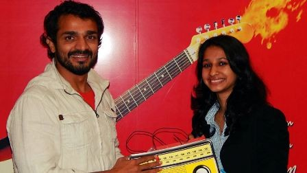 Vijay Raghavendra and Aishwarya nag promoting Chellapilli